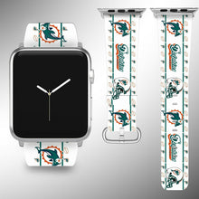 Load image into Gallery viewer, Miami Dolphins Apple Watch Band 38 40 42 44 mm Fabric Leather Strap 2
