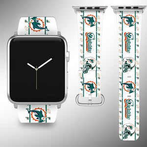 Miami Dolphins Apple Watch Band 38 40 42 44 mm Fabric Leather Strap 2