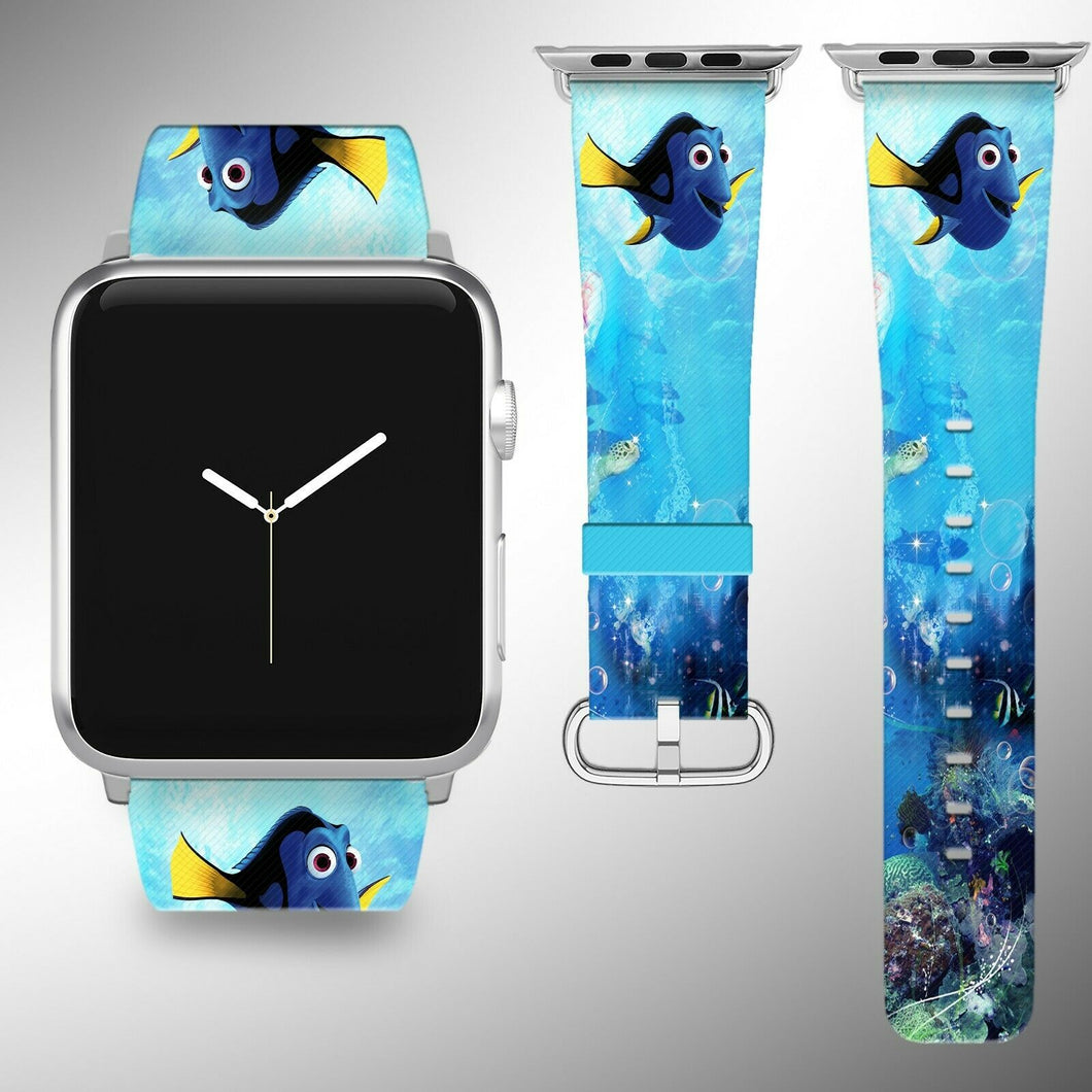 Finding Dory Apple Watch Band 38 40 42 44 mm Fabric Leather Strap 02