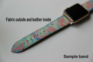 Mickey Mouse Apple Watch Band 38 40 42 44 mm Fabric Leather Strap 09