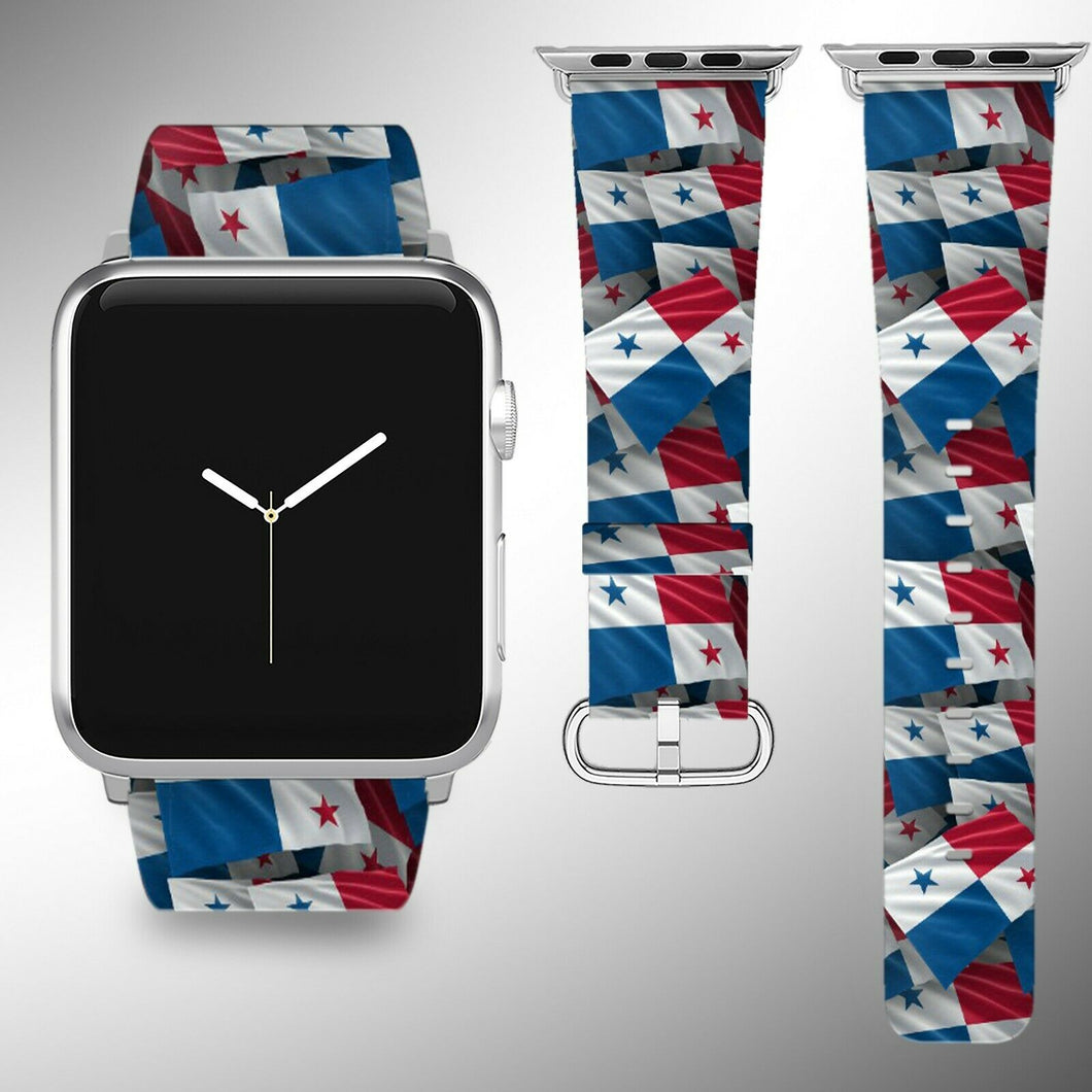Panama Flag Apple Watch Band 38 40 42 44 mm Series 1 - 5 Fabric Leather Strap