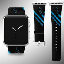 Load image into Gallery viewer, Carolina Panthers Apple Watch Band 38 40 42 44 mm Fabric Leather Strap 2