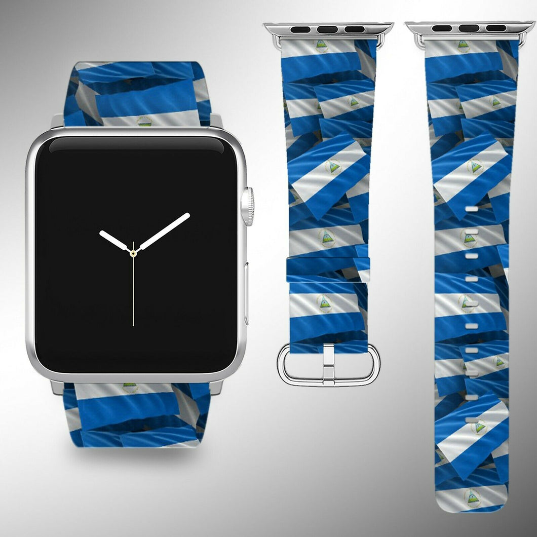 Nicaragua Flag Apple Watch Band 38 40 42 44 mm Series 1 - 5 Fabric Leather Strap