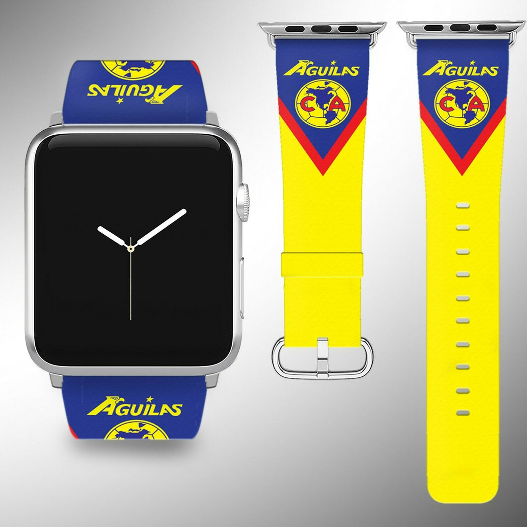 Club America Apple Watch Band 38 40 42 44 mm Series 1 - 4 Fabric Leather Strap 2