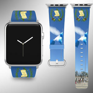Guatemala Coat of Arms Apple Watch Band 38 40 42 44 mm Fabric Leather Strap