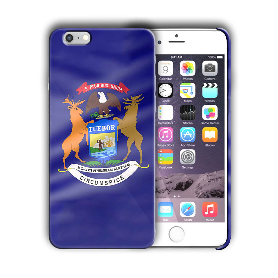 Michigan Great Seal Emblem Iphone 4 4s 5 5s 5c SE 6 6s 7 + Plus Case Cover 04
