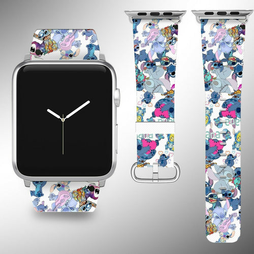 Stitch Disney Apple Watch Band 38 40 42 44 mm Fabric Leather Strap 03
