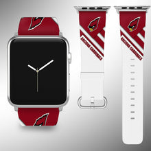 Load image into Gallery viewer, Arizona Cardinals Apple Watch Band 38 40 42 44 mm Fabric Leather Strap 2