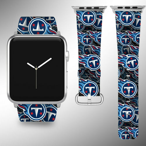 Tennessee Titans Apple Watch Band 38 40 42 44 mm Fabric Leather Strap 1