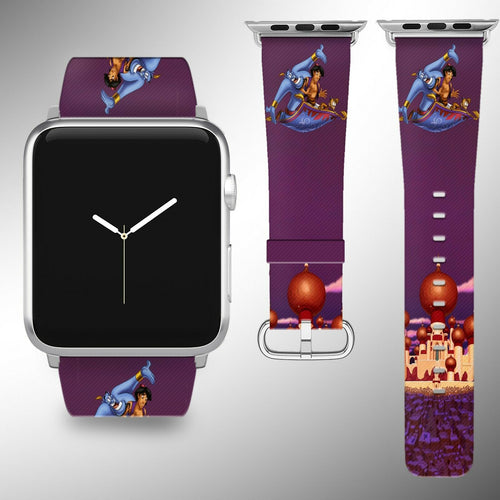Aladdin Disney Apple Watch Band 38 40 42 44 mm Fabric Leather Strap 01