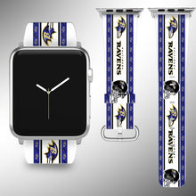 Load image into Gallery viewer, Baltimore Ravens Apple Watch Band 38 40 42 44 mm Fabric Leather Strap 2