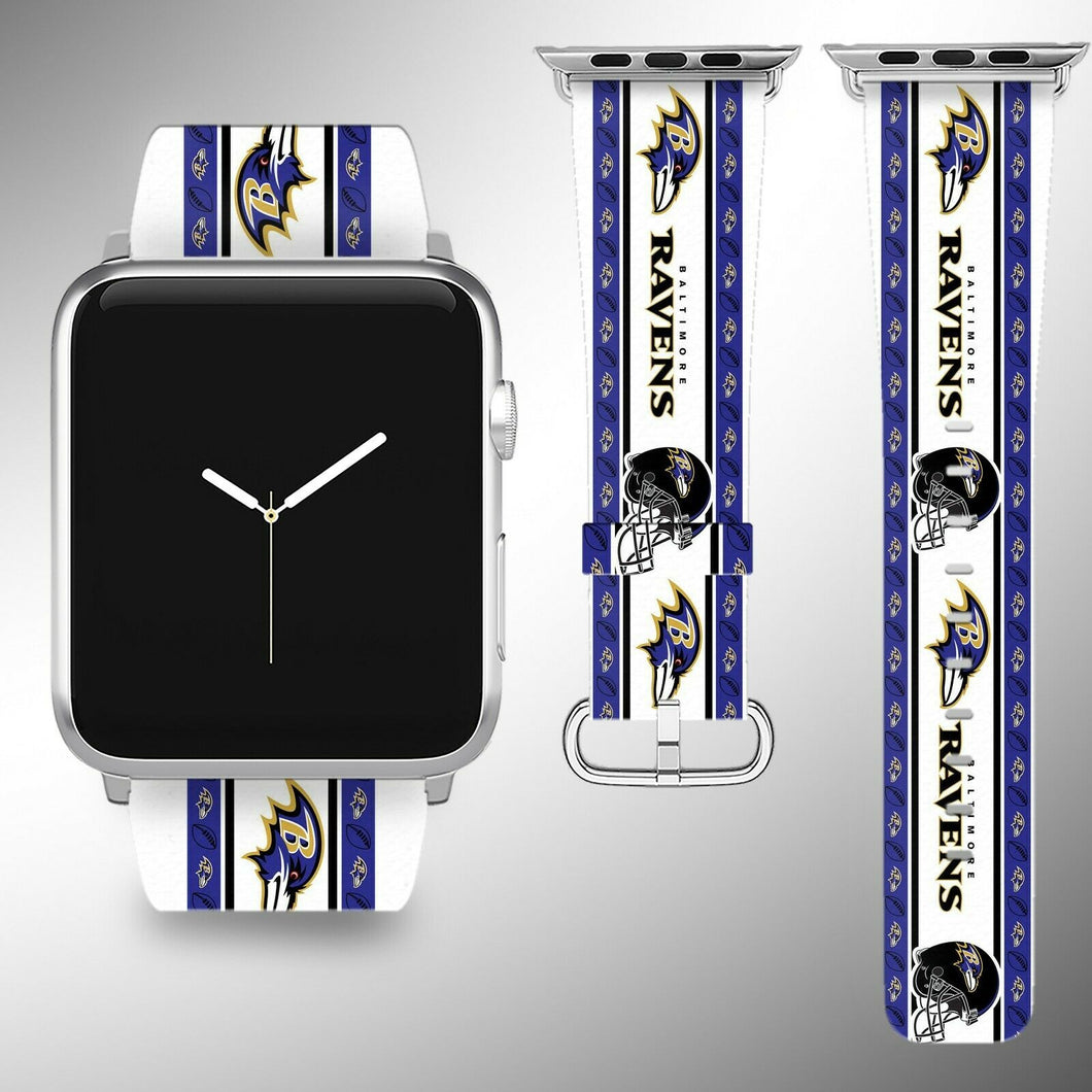 Baltimore Ravens Apple Watch Band 38 40 42 44 mm Fabric Leather Strap 2