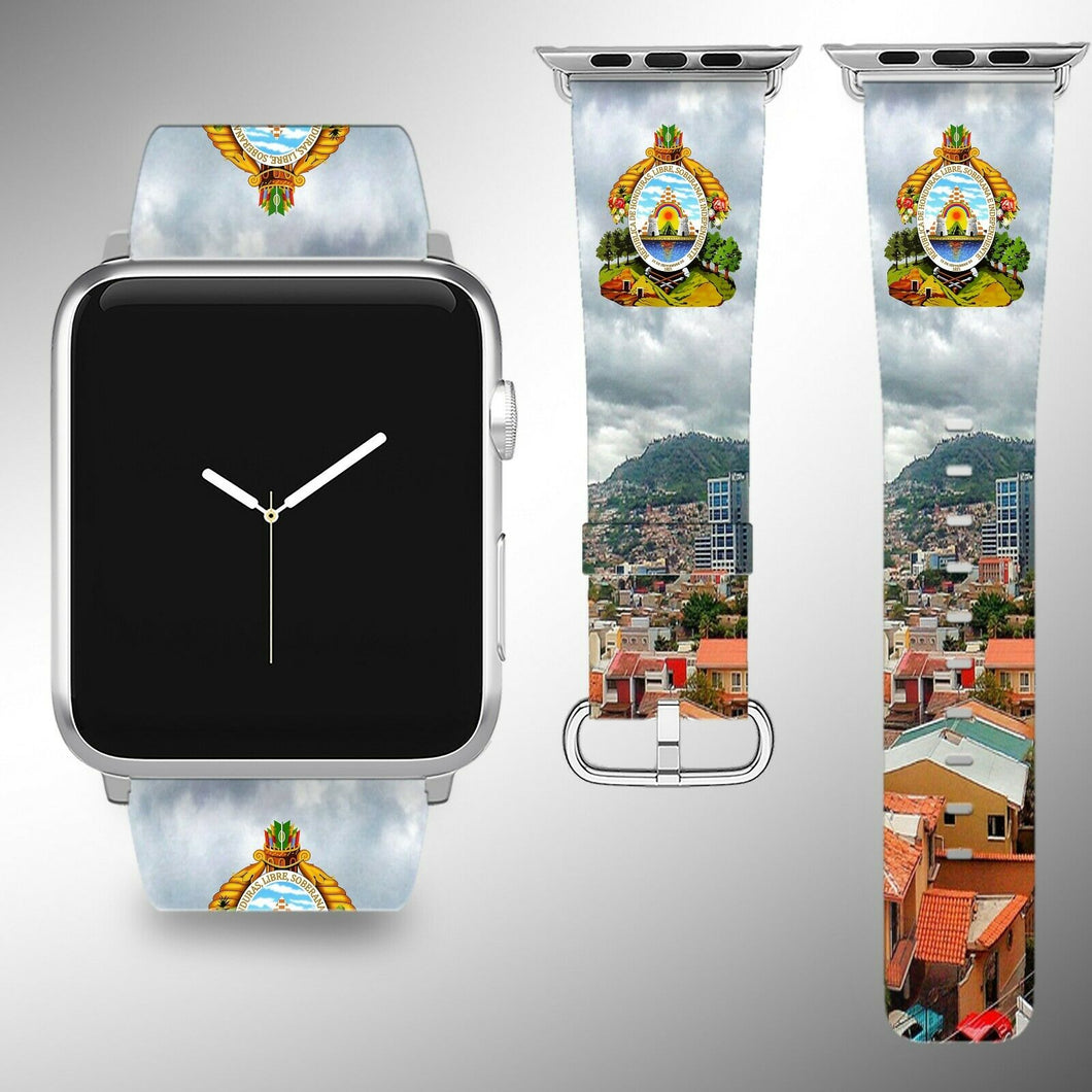 Honduras Coat of Arms Apple Watch Band 38 40 42 44 mm Fabric Leather Strap