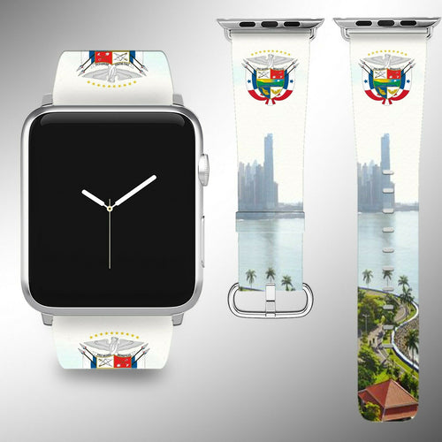 Panama Coat of Arms Apple Watch Band 38 40 42 44 mm Fabric Leather Strap