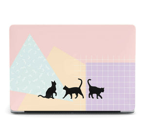 Cute Black Painted Cats MacBook case for Mac Air Pro M1 13 16 Cover Skin SN80