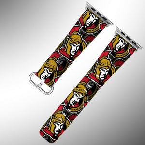 Ottawa Senators Apple Watch Band 38 40 42 44 mm Fabric Leather Strap 01