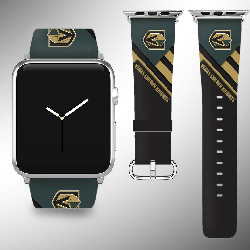 Vegas Golden Knights Apple Watch Band 38 40 42 44 mm Fabric Leather Strap 02