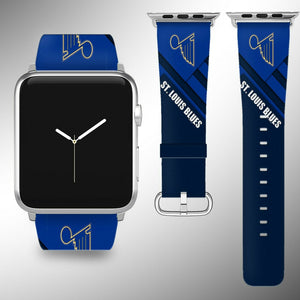 St. Louis Blues Apple Watch Band 38 40 42 44 mm Fabric Leather Strap 01