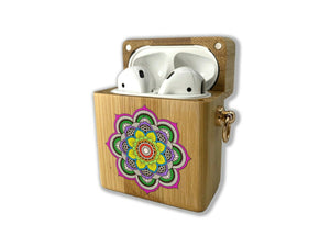 Arabic Pattern wooden Case for AirPods 1 2 3 Pro real wood cover SN 152