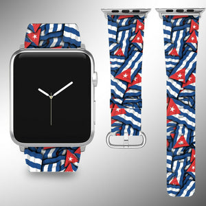 Cuba Flag Apple Watch Band 38 40 42 44 mm Series 1 - 5 Fabric Leather Strap 01
