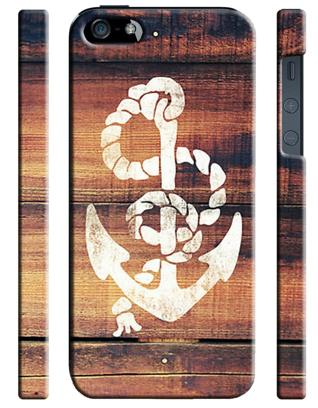Anchor on Wooden Wall Case Cover for Iphone 4 4s 5 5s 5c 6 6S + Plus