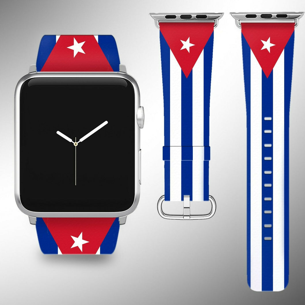 Cuba Flag Apple Watch Band 38 40 42 44 mm Series 1 - 5 Fabric Leather Strap 02