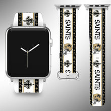 Load image into Gallery viewer, New Orleans Saints Apple Watch Band 38 40 42 44 mm Fabric Leather Strap 2
