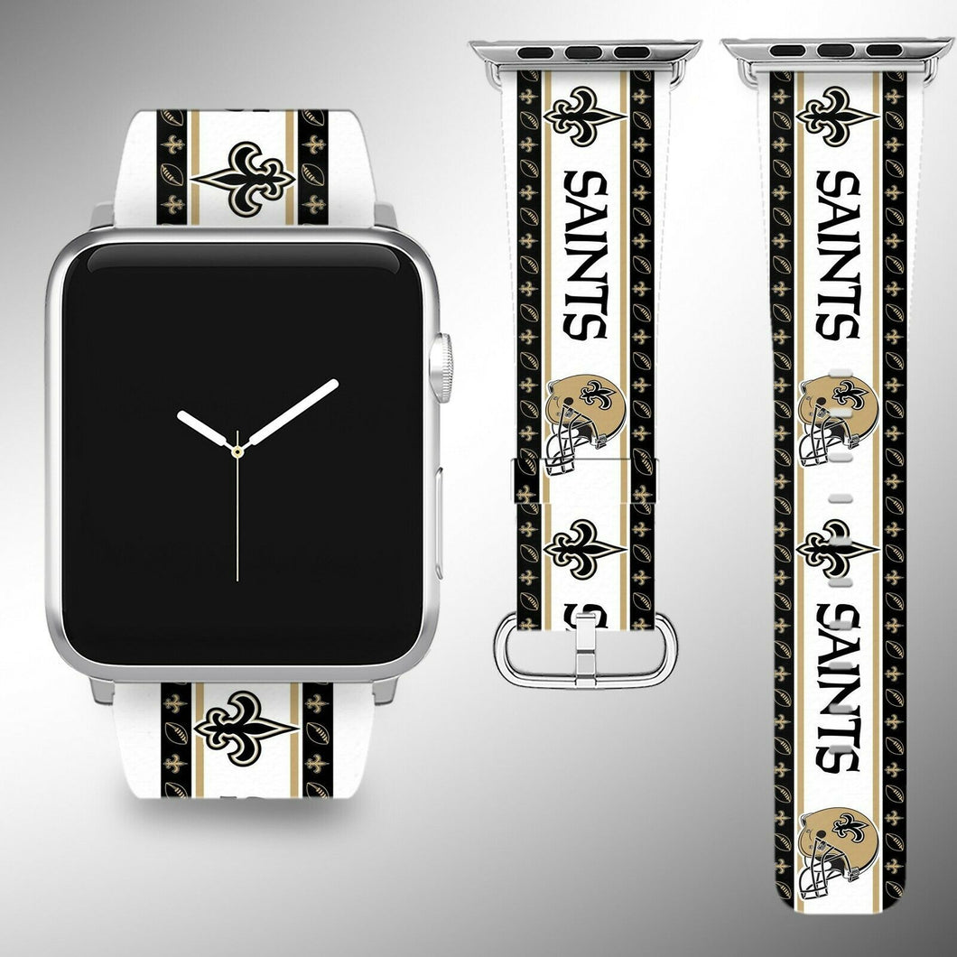 New Orleans Saints Apple Watch Band 38 40 42 44 mm Fabric Leather Strap 2