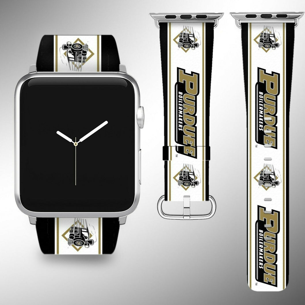 Purdue Boilermakers Apple Watch Band 38 40 42 44 mm Fabric Leather Strap 1