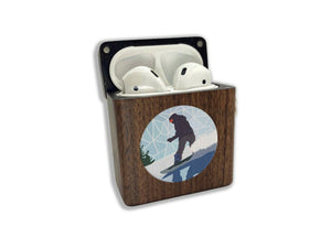 Extreme Sport Snowboard wooden Case for AirPods 1 2 3 Pro real wood cover SN 236