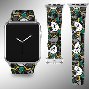 Anaheim Ducks Apple Watch Band 38 40 42 44 mm Fabric Leather Strap 01