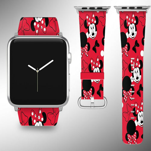 Minnie Mouse Disney Apple Watch Band 38 40 42 44 mm Fabric Leather Strap 01