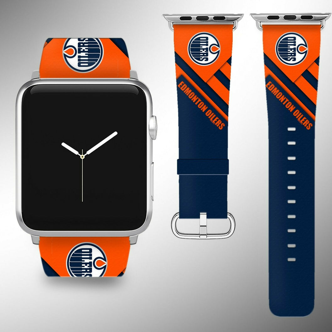 Edmonton Oilers Apple Watch Band 38 40 42 44 mm Fabric Leather Strap 02