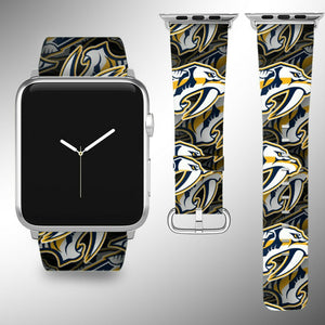 Nashville Predators Apple Watch Band 38 40 42 44 mm Fabric Leather Strap 01