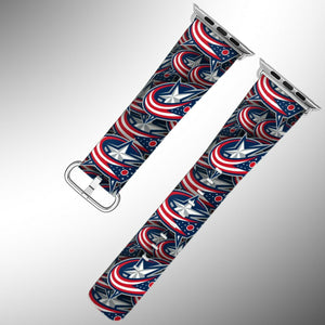 Columbus Blue Jackets Apple Watch Band 38 40 42 44 mm Fabric Leather Strap 01