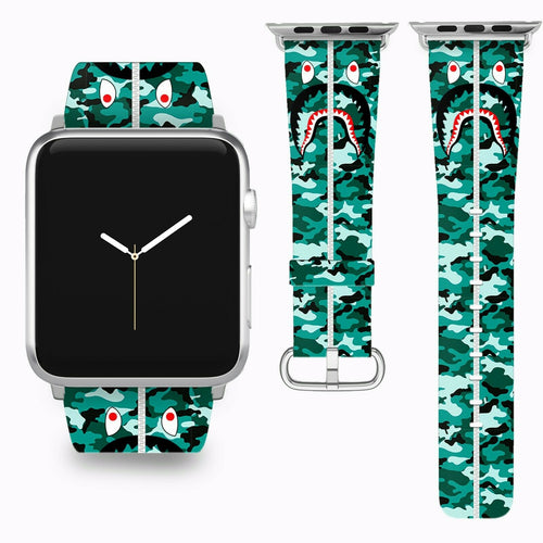 Bape Shark Apple Watch Band 38 40 42 44 mm Series 5 1 2 3 4 Wrist Strap 03