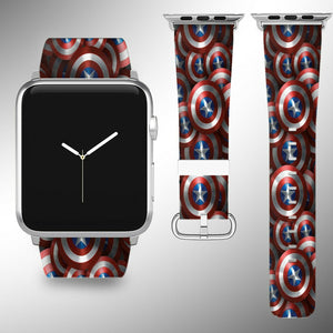 Captain America Apple Watch Band 38 40 42 44 mm Wrist Strap 01
