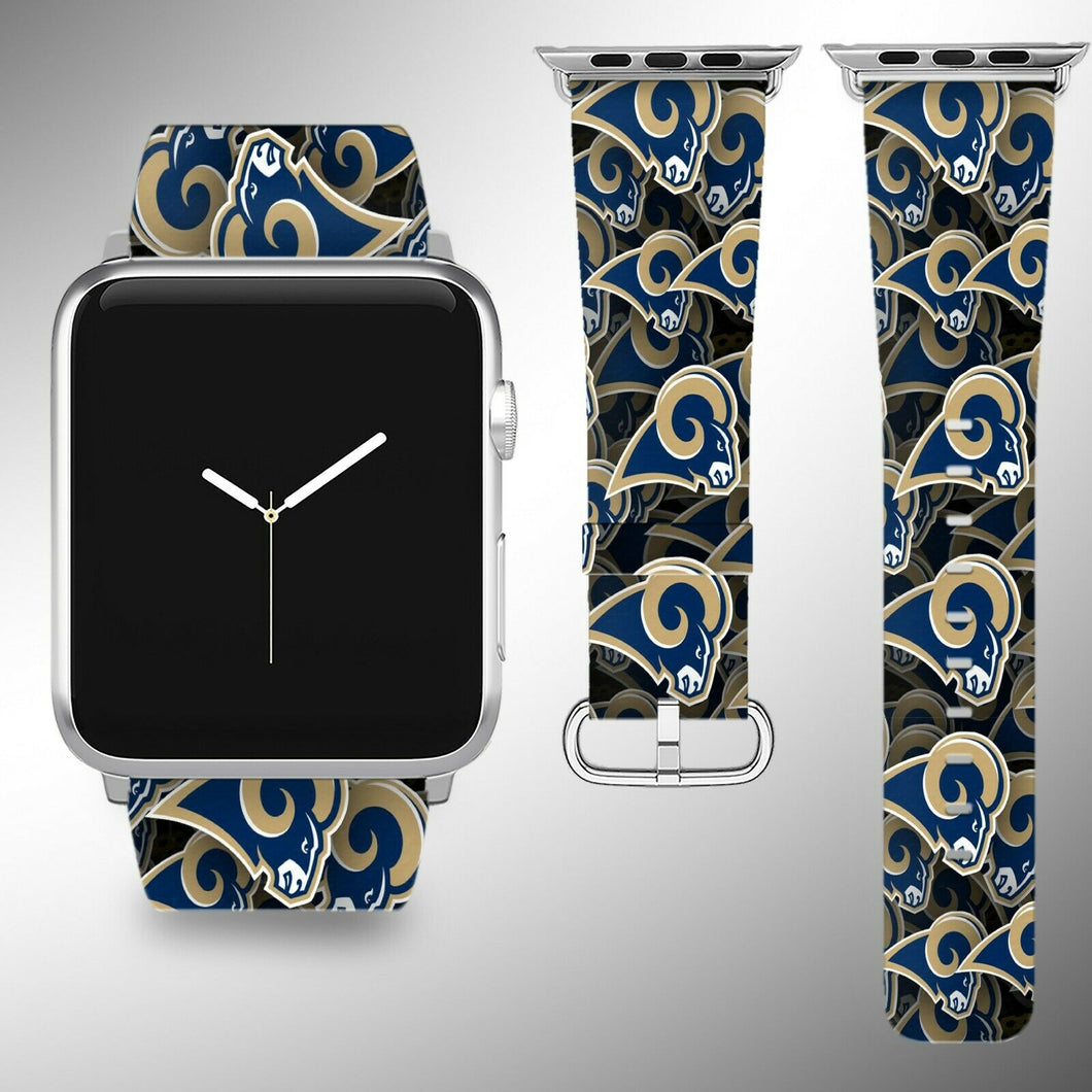 Los Angeles Rams Apple Watch Band 38 40 42 44 mm Fabric Leather Strap 1
