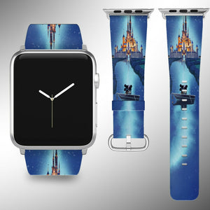 Cinderella Castle Disney Apple Watch Band 38 40 42 44 mm Fabric Leather Strap