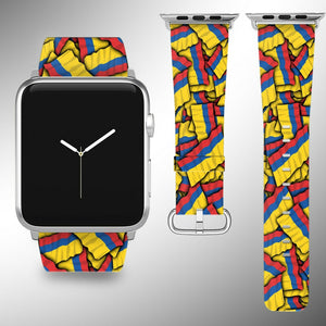 Colombia Flag Apple Watch Band 38 40 42 44 mm Series 1 - 5 Fabric Leather Strap