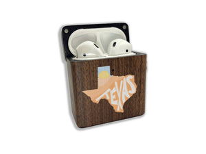 Texas Lone Star State wooden Case for AirPods 1 2 3 Pro real wood cover SN 134