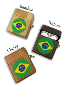 Brazil Brasil wooden Case for AirPods 1 2 3 Pro real wood cover SN 102