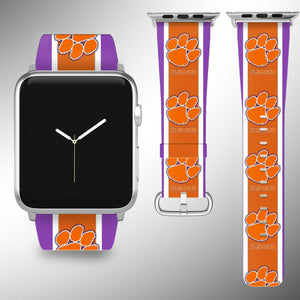 Clemson Tigers Apple Watch Band 38 40 42 44 mm Fabric Leather Strap 4