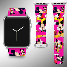 Load image into Gallery viewer, Mickey Mouse Apple Watch Band 38 40 42 44 mm Fabric Leather Strap 06