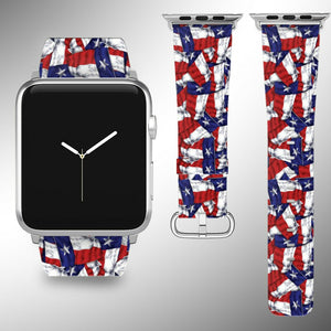 Texas Flag Apple Watch Band 38 40 42 44 mm Series 1 - 5 Fabric Leather Strap 1