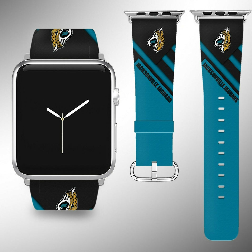 Jacksonville Jaguars Apple Watch Band 38 40 42 44 mm Fabric Leather Strap 2