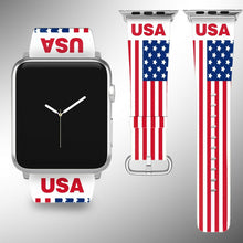 Load image into Gallery viewer, USA Flag Apple Watch Band 38 40 42 44 mm Series 5 1 2 3 4 Wrist Strap 03