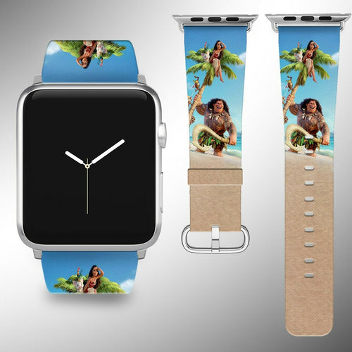 Moana Disney Apple Watch Band 38 40 42 44 mm Fabric Leather Strap 01