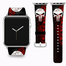 Load image into Gallery viewer, Punisher Apple Watch Band 38 40 42 44 mm Series 5 1 2 3 4 Fabric Leather Strap 3