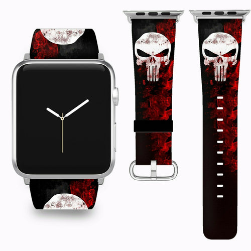 Punisher Apple Watch Band 38 40 42 44 mm Series 5 1 2 3 4 Fabric Leather Strap 3